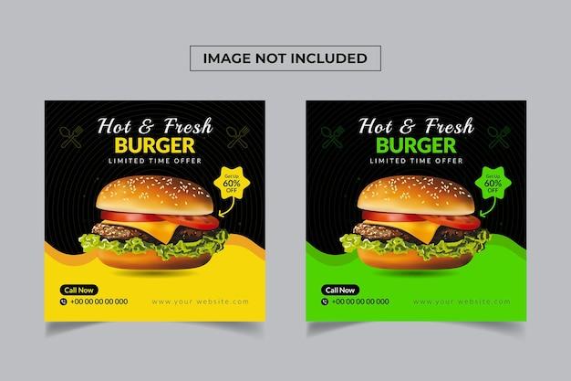 Conception de publication sur les médias sociaux pour hamburgers frais et chauds