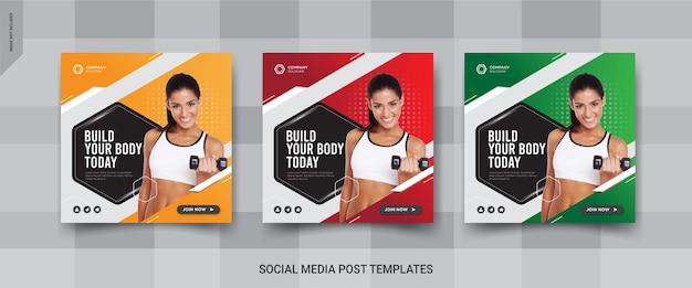 Conception de publication de médias sociaux pour salle de fitness