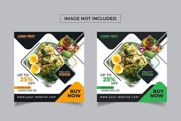 Conception de publication sur les médias sociaux pour la vente d'aliments sains