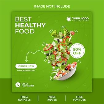 Conception de publication sur les réseaux sociaux d'aliments sains