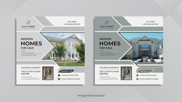 Conception de publication sur les réseaux sociaux de l'immobilier moderne avec des formes géométriques minimales.