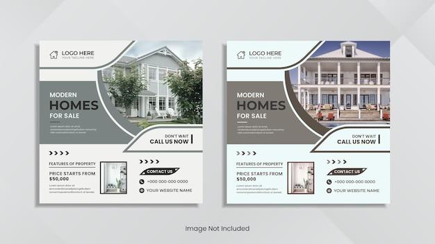 Conception de publication sur les réseaux sociaux de vente immobilière avec des formes et des couleurs simples.