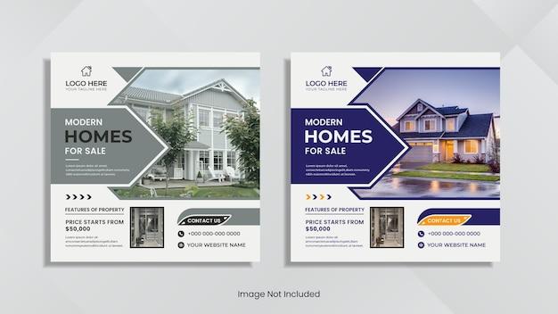 Conception de publications sur les réseaux sociaux immobiliers avec des formes et des couleurs géométriques minimales.