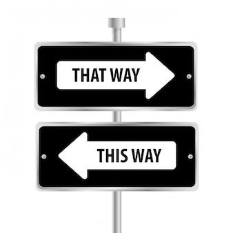 Conception publicitaire de panneaux de signalisation à sens unique,