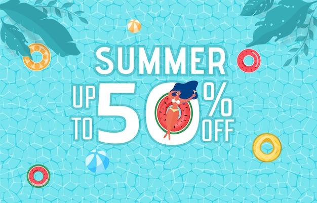 Conception de publicité de fête de piscine en été avec fille sur anneau en caoutchouc.
