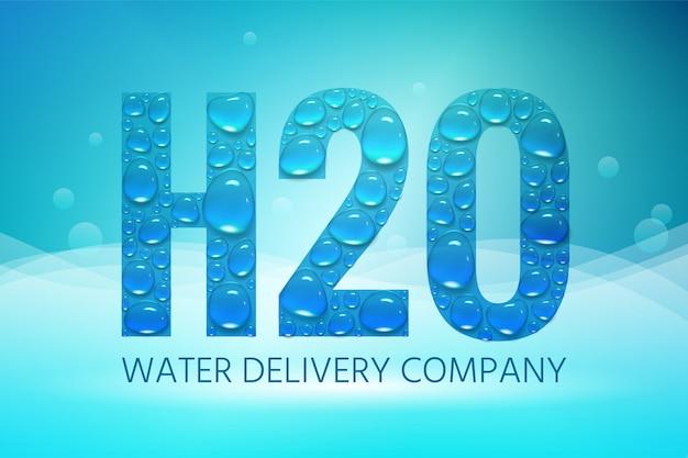 Conception de la publicité pour une entreprise de distribution d'eau, h2o avec gouttes d'eau
