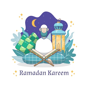 Conception de ramadan dessinée à la main