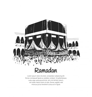 Conception de ramadan avec kaaba
