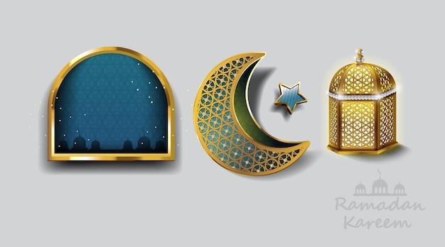 Conception de ramadan kareem avec carte de voeux de lampe arabe or