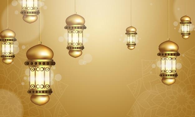 Conception de ramadan kareem avec de magnifiques lanternes suspendues