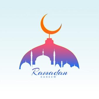 Conception de ramadan kareem avec la silhouette de la mosquée