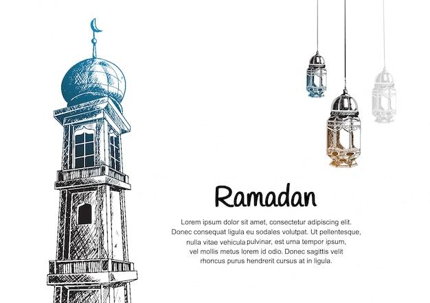 Conception de ramadan avec tour de la mosquée et lanterne suspendue