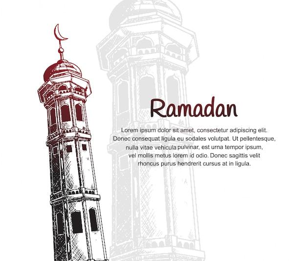 Conception de ramadan avec tour de la mosquée