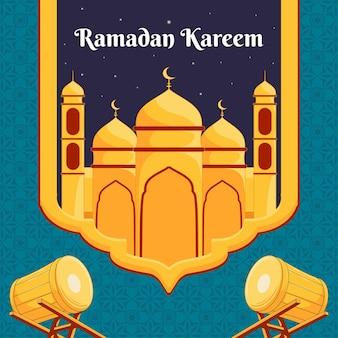 Conception de ramdan kareem avec illustration de la mosquée