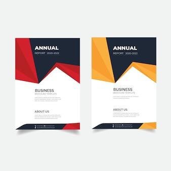 Conception de rapport annuel moderne abstrait avec couleur rouge et orange