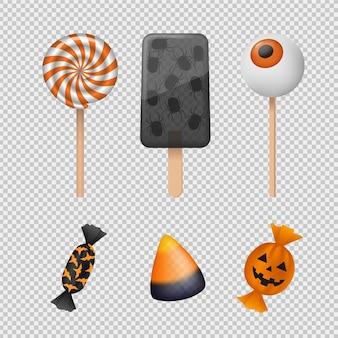 Conception réaliste de collection de bonbons d'halloween