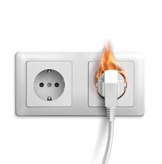 Conception réaliste de court-circuit avec prise électrique 3d en feu.