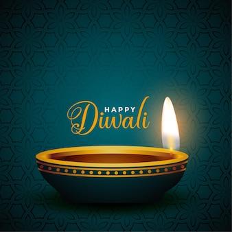 Conception réaliste de diya pour le joyeux festival de diwali