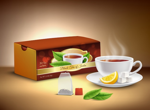 Conception réaliste de l'emballage du thé noir