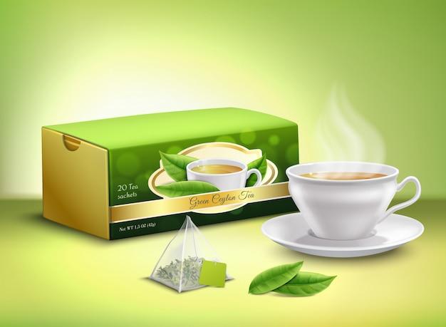 Conception réaliste d'emballage de thé vert