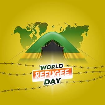Conception réaliste de la journée mondiale des réfugiés.