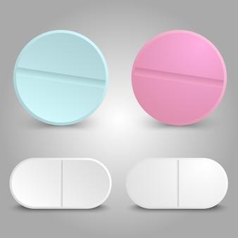 Conception réaliste de médicaments - ensemble de pilules médicinales