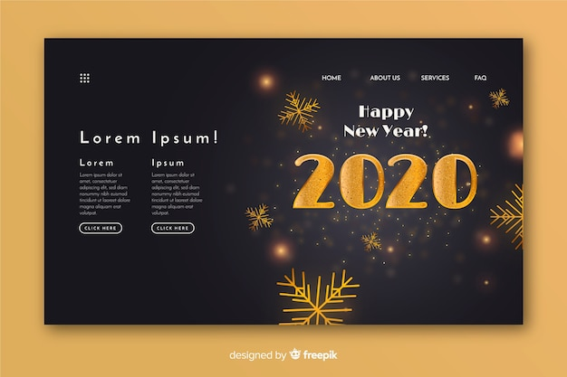 Conception réaliste de la page de destination de bonne année