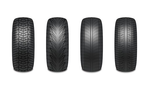 Conception réaliste de pneus de voiture isolé sur fond blanc