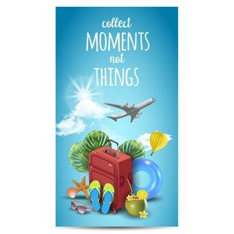Conception réaliste de vacances d'été pour voyager avec des articles d'été. devis de voyage.