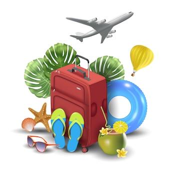 Conception réaliste de vacances d'été pour voyager avec des articles d'été. illustration