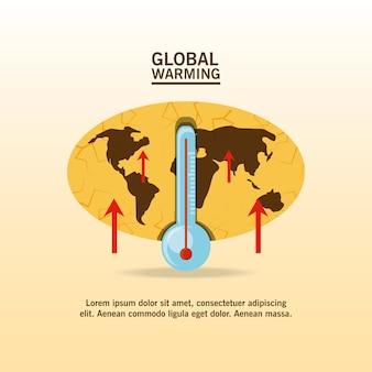Conception de réchauffement climatique avec carte et icône de thermomètre