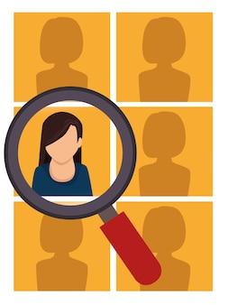 Conception de recherche de ressources humaines femme isolée