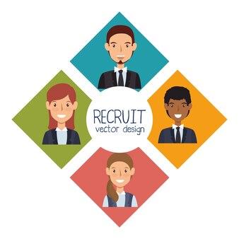 Conception de recrutement de ressources humaines isolé