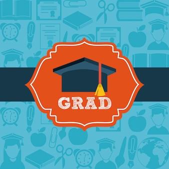 Conception de la remise des diplômes au cours de l'illustration vectorielle fond bleu