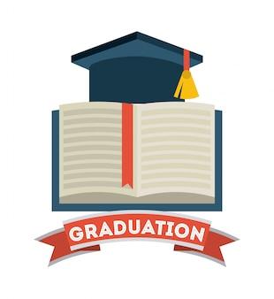 Conception de la remise des diplômes sur illustration vectorielle backgrorund blanc