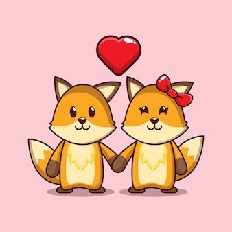 Conception de renards mignons tombant amoureux