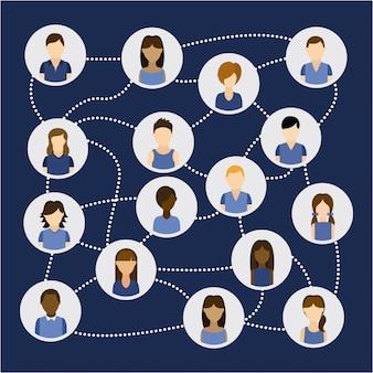 Conception de réseau social au cours de l'illustration vectorielle fond bleu