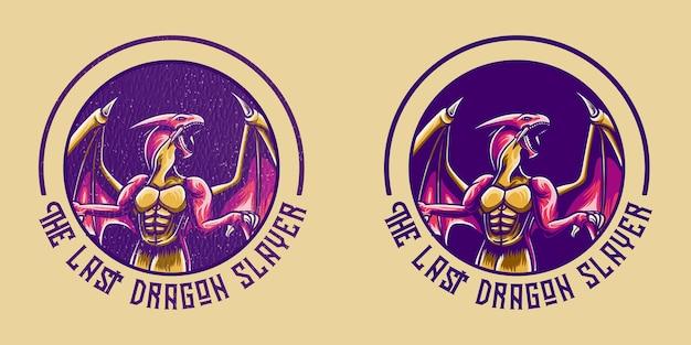 Conception rétro de dragon pour tshirt
