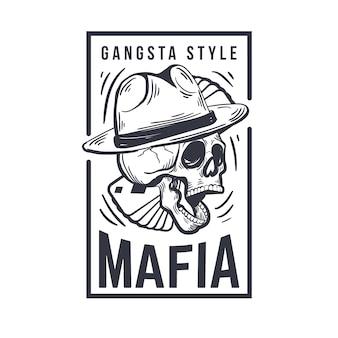 Conception rétro du logo mafia