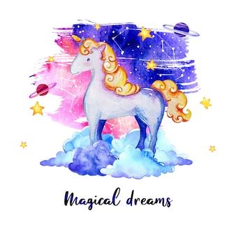 Conception rêveuse de licorne aquarelle