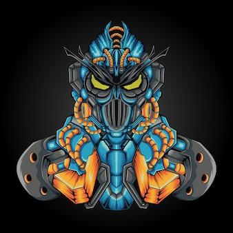 Conception de robot personnalisé de base warrior avec un style de concept d'illustration moderne