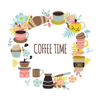 Conception ronde de l'heure du café