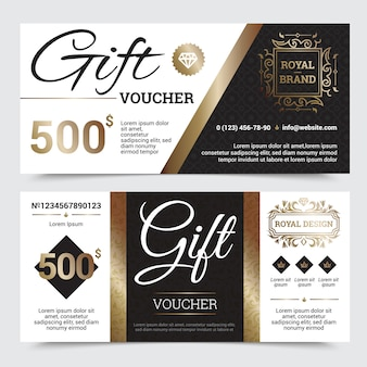 Conception royale de coupon cadeau avec des cadres dorés d'éléments dorés