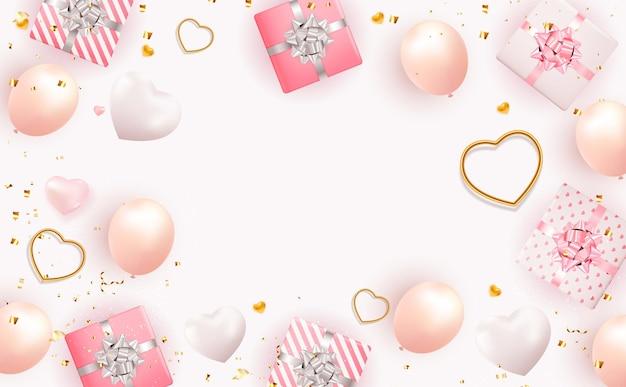 Conception de la saint-valentin avec boîte-cadeau réaliste et coeur.