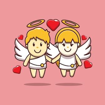 Conception de la saint-valentin de cupidon mignon tombant amoureux