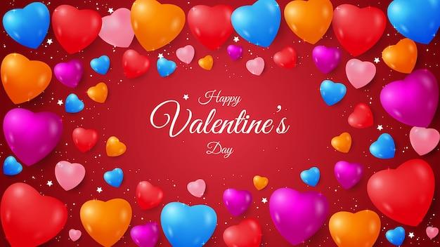 Conception de la saint-valentin avec forme d'amour colorée