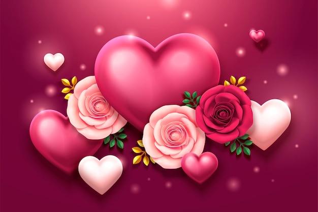 Conception de la saint-valentin avec des roses et des décorations en forme de coeur en illustration 3d