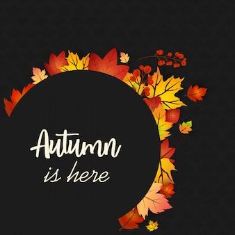 Conception de saison d'automne avec vecteur de fond sombre