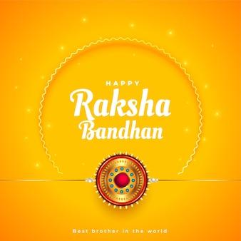 Conception de salutation jaune traditionnelle de raksha bandhan