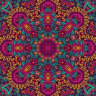 Conception sans couture ethnique ethnique tribal indien. motif de mandala coloré. fleurs de boho fantaisie mandala géométrique